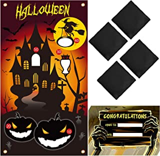 URATOT Halloween Bean Bag Toss Game with 4 Bean Bag and 10 Winners Certificate for Families with Kids Travel Games Halloween Party Decorations Supplies (Style 1)