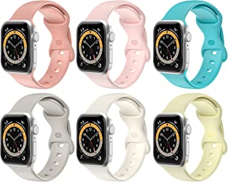 Replacement Watch Bands Compatible with Apple Watch 6/ 5/ 4/ 3/ 2/ 1/ SE, Soft Silicone 38mm/ 40mm/ 42mm/ 44mm Accessory Sport Wristband Strap for iWatch (#6PCS RAINBOW PACK, 38/40 mm - Large Size)