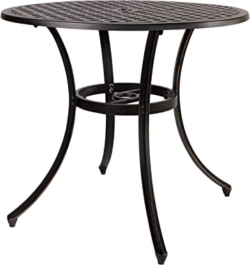 Kinger Home Outdoor Dining Table, 33 Inch Large Round Metal Patio Table with Umbrella Hole, Cast Aluminum Patio Dining Furnit