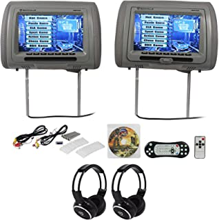 Rockville RDP931-GR 9 Grey Car DVD/HDMI Headrest Monitors+2 Wireless Headsets