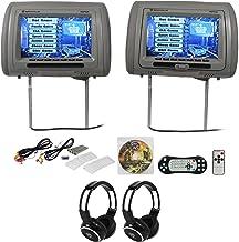 "Rockville RDP931-GR 9"" Grey Car DVD/HDMI Headrest Monitors+2 Wireless Headsets"