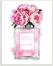 The Stupell Home Décor Collection Glam Perfume Bottle V2 Flower Silver Pink Peony Wood Plaque Wall Art, 13 x 19 Inches