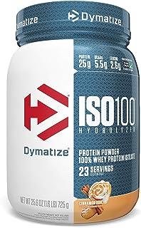 Dymatize ISO 100 Whey Protein Powder with 25g of Hydrolyzed 100% Whey Isolate, Gluten Free, Fast Digesting, 1.6 Pound Cinn...
