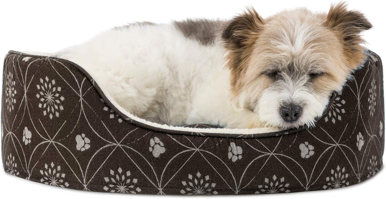 Furhaven Pet Products PawMate Print Flannel Oval Pet Bed, Dark Espresso, Medium