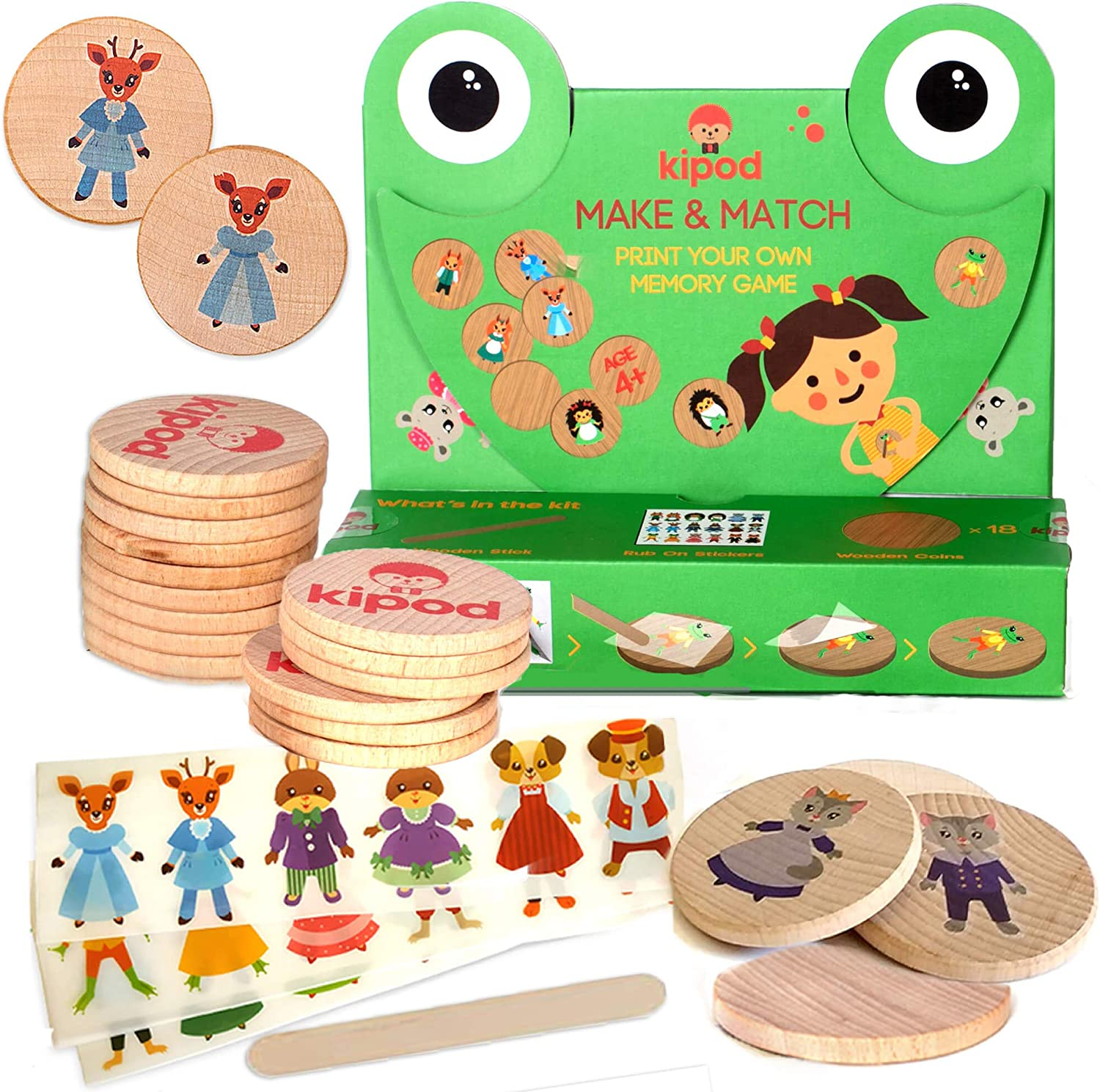 Crafts kit for Girls and Boys Kipod Toys Kids Matching Game Print Your Memory Game for Kids Ages 4-8-year-old 36 Wooden Coins /& Tattoo Stickers
