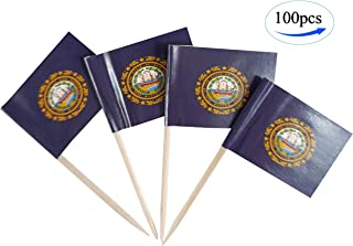 JBCD New Hampshire Flag Toothpicks NH Flags 100 Pcs Cupcake Toppers Flag State Flag Tooth Picks, Small Mini Stick Paper Flags Picks Party Celebration Cocktail Food Bar Cake Flags