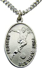 Solid Pewter Soccer Medal with Chain and Saint Sebastian Holy Card Boxed Set