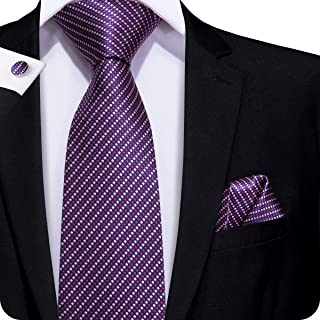 Hi-Tie Men Classic Purple Tie Handkerchief Necktie Pocket Square and Cufflinks Tie Set