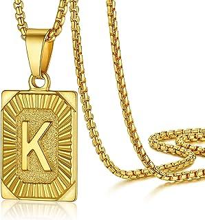 قلادة من PROSTEEL بالحرف الأولي للرجال للنساء، قلادة حرف كبير من A إلى Z، أسود/أصفر مطلي بالذهب مجوهرات الفولاذ المقاوم لل...