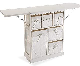 Versa 21160020 Mueble cajonera con 6 cestas para Planchar Basic Madera Blanco 85 x 30 x 130 cm