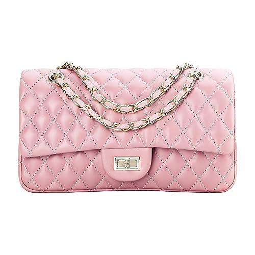 36e0247b87 SanMario Designer Handbags Lambskin Classic Quilted Chain Double Flap  Women s Crossbody Shoulder Bag (25.5cm
