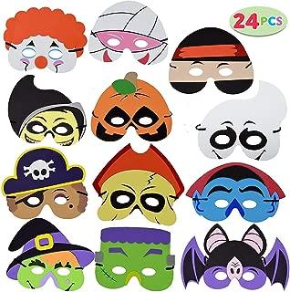 JOYIN 24 Pieces Halloween Foam Mask for Kids Halloween Party Favors, Halloween Crafts Supplies and Halloween Prizes