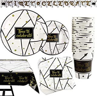 177 Piece Black and Gold Celebration Party Supplies Set Including Banner, Plates, Cups, Napkins, Tablecloth, Serves 25
