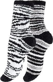 Yenita, 4 o 8 pares de calcetines suaves de peluche, calcetines de cama, calcetines cálidos, diseño de jirafa de cristal