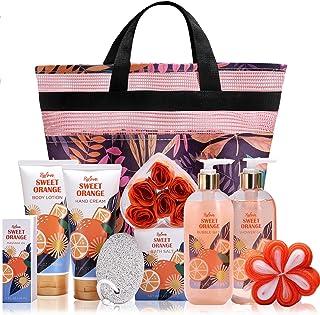 Coffret Cadeau Spa pour Femme avec Panier, 10Pcs Coffret de bain à l'orange douce Compris Bain Moussant, Lotion pour le Co...