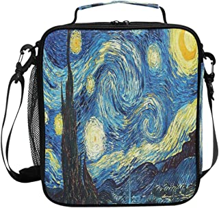 Wamika Retro Blue Van Gogh Starry Night Lunch Box Insulated Lunch Bag Large Freezable Halloween Castle Night Stars Sky Lunch Bag Tote Cooler Lunch Meal with Shoulder Strap