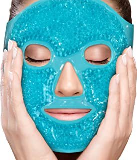 PerfeCore Facial Mask - Get Rid of Puffy Eyes - Migraine Relief, Sleeping, Travel Therapeutic Hot Cold Compress Pack - Gel Beads, Spa Therapy Wrap for Sinus Pressure Face Puffiness Headaches - Blue