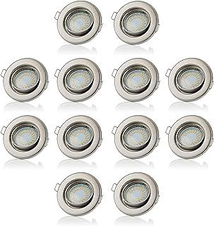 Sweet LED reflektor punktowy LED GU10, 5 W, 400 lumenów, 230 V, zestaw 12 sztuk z ramą montażową, światło w kolorze ciepłe...