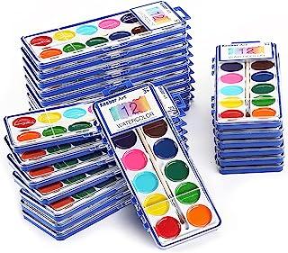 مجموعه فله ای رنگ آمیزی آبرنگ 12 رنگ Keebor پایه 24 رنگ با برس های مخصوص کودکان