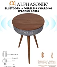 Alphasonik Decor Modern Home Portable Bluetooth Speaker 360 Surround HD Sound with 10 Speakers Drivers Built-in Qi Wireless Charger Dual USB AUX Inputs End Table Coffee Table Night Stand - Walnut