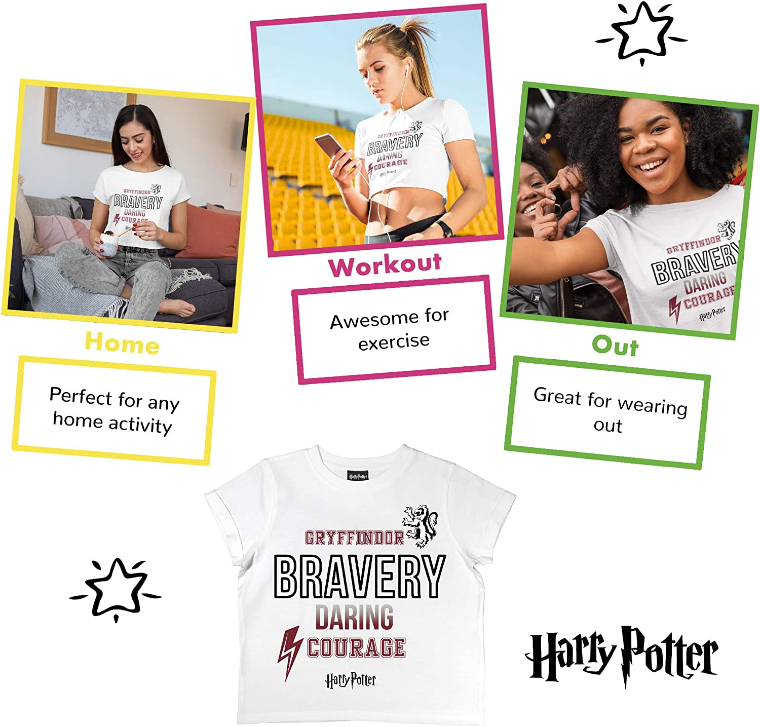 Harry Potter Gifts Kids Birthday Gift Idea Ages 10-13 Girls Fashion Crop Top Official Merchandise Harry Potter Gryffindor Bravery Girls Cropped T-Shirt Childrens Clothes