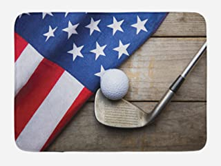 Lunarable Sports Bath Mat, Golf Ball with Flag of USA on Wood Table Patriotism Rustic Country Style, Plush Bathroom Decor Mat with Non Slip Backing, 29.5
