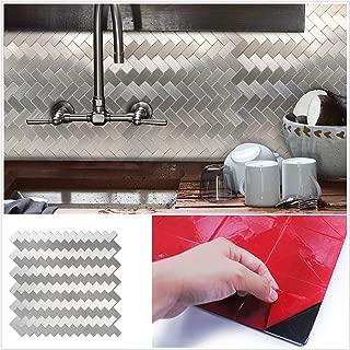 HomeyMosaic Peel and Stick Tile Backsplash for Kitchen Wall Decor Aluminum Surface Metal Mosaic Tiles Sticker Subway Wave Strip(12
