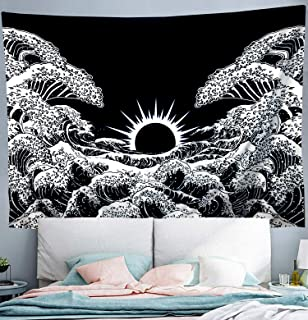 """Wekymuu Japanese Wall Tapestry Kanagawa Tapestry Black White Tapestry 3D Great Wave Tapestry Wall Hanging for Room and Dorm Bedroom(Black Wave51.2""""x 59.1"""")"""