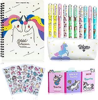 aovowog Unicorno Regalo Bambina 3 4 5 6 7 8 9 10 Anni, 25pz Set Penne a Sfera Astuccio Scuola e Notebook e Adesivi e Nota ...