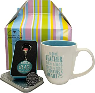 Bright Dog Inspiration Teachers Gift Set | Boxed Set of Mug, Key Chain and Pocket Token