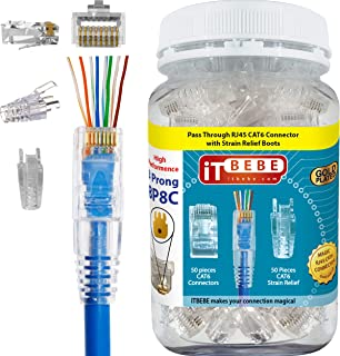 ITBEBE Gold-Plated Pass Through RJ45 Cat6 3-Prong Connectors and Cable Strain Relief 50/50 Kit for Clean, Snag-Free Patch Cords (100 Pieces Total)