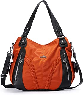 4975faefd826 Angelkiss Women Top Handle Satchel Handbags Shoulder Bag Messenger Tote  Washed Leather Purses Bag …