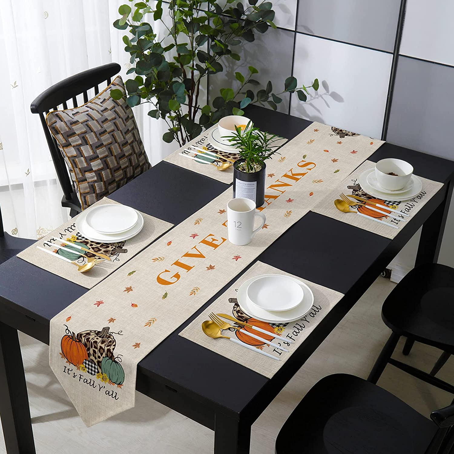 Table Runner with Placemats Thanksgiving Y'All Soldering Limited price Fall It's Pu