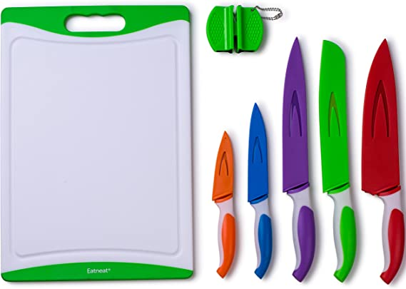 EatNeat 12-Piece Colored Sharp Knife Set: 5 Stainless Steel Kitchen Knives with Covers