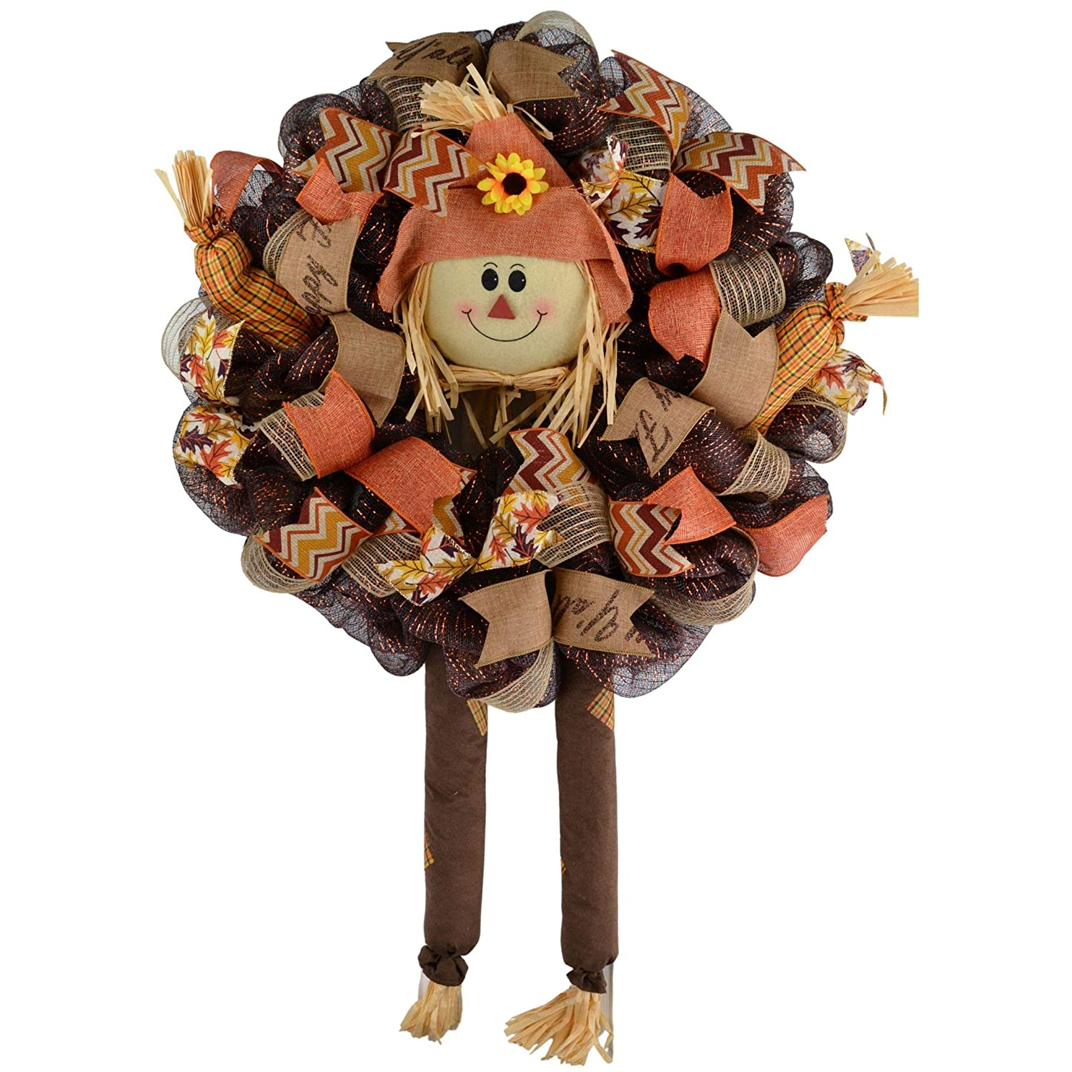 Scarecrow Wreath Thanksgiving Deco Front Mesh Max 84% OFF Fall Door Cheap super special price
