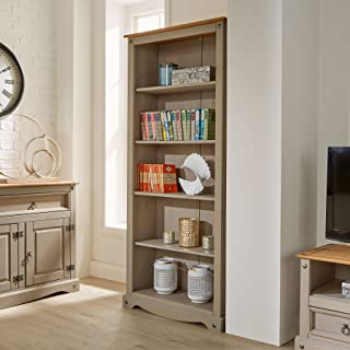 Corona Grey Tall Pine Bookcase 5 Book Shelves Mexican Solid Wood Living Room