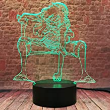 Luffy 3D Anime Night Light, aap · D · Luffy USB LED nachtlampje, werkt op batterijen, voor kinderen, geschenk, decoratie o...