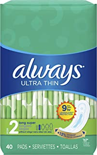 Always Ultra Thin Feminine Pads for Women, Size 2, Super Absorbency, Unscented, 40 Count - Pack of 3 (120 Count Total) (Packaging May Vary)
