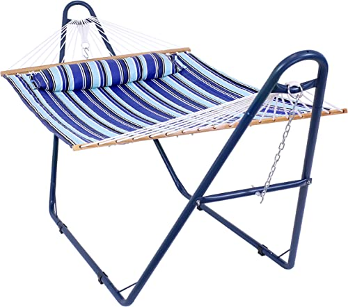 discount Sunnydaze Double Quilted Fabric new arrival Hammock with Multi-Use Universal Matte Blue Steel Stand - Catalina Beach Striped sale - 2-Person 450-Pound Capacity - Backyard Lounge Furniture online