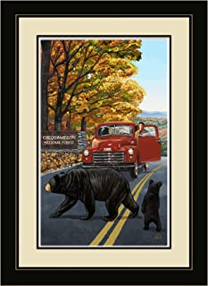 """Northwest Art Mall TWS Chequamegon Wisconsin Truck with Sign Framed Wall Art, 13"""" by 16"""""""