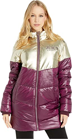 Color Block Metallic Puffer Coat