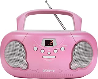 Groov-e Portable CD Player Boombox with AM/FM Radio, 3.5mm AUX Input, Headphone Jack, LED Display - Pink