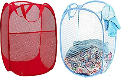 Heart Home Nylon 2 Piece Mesh Laundry Basket, 20Ltr (Multi)- CTHH22499