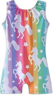 Leotards برای دختران ژیمناستیک Unicorn Sparkly Pink Biketards Stars ابرهای رنگین کمان