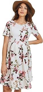 HELLO MIZ Women's Maternity Midi Dress with Front & Back Pleat (Ivory Floral, L)