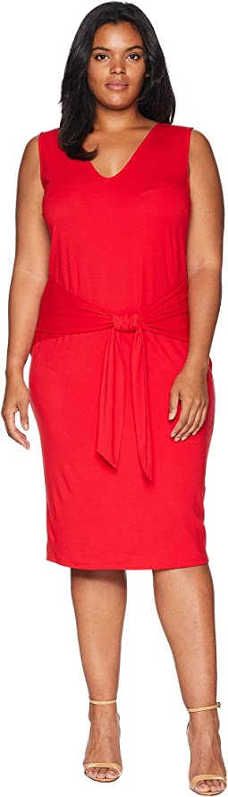 Plus Size Tie-Front Sleeveless Dress