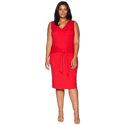 LAUREN Ralph Lauren Plus Size Tie-Front Sleeveless Dress (Lipstick Red) Women
