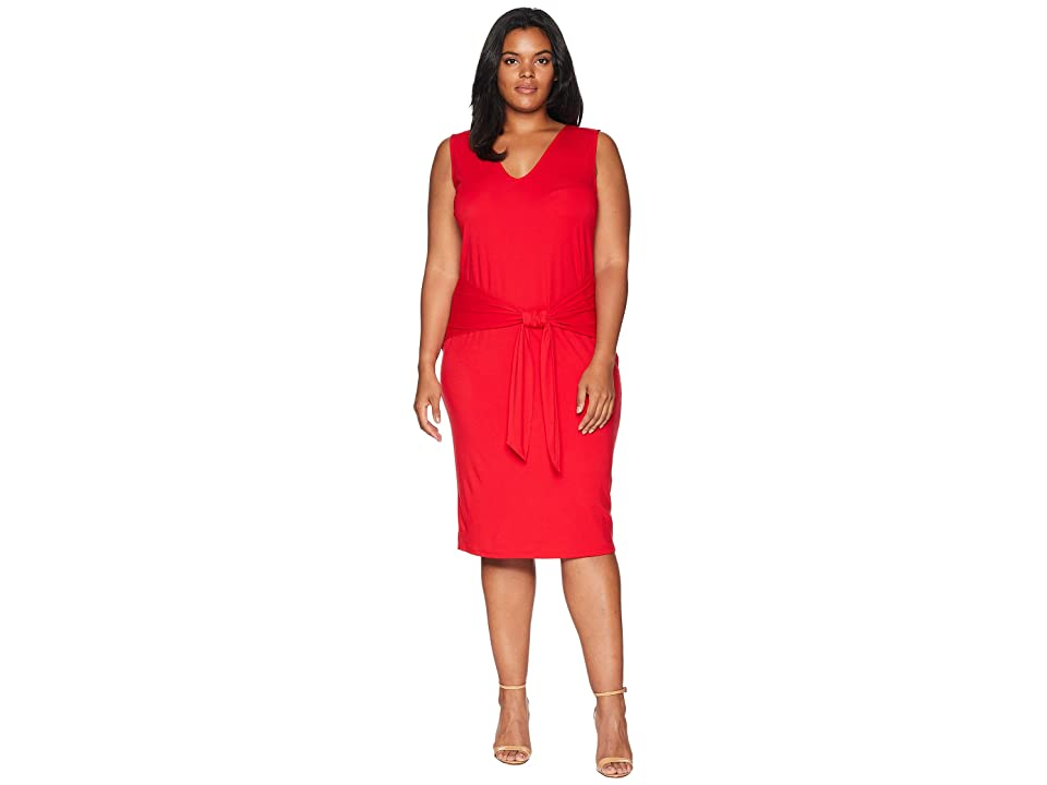 LAUREN Ralph Lauren Plus Size Tie-Front Sleeveless Dress (Lipstick Red) Women's Dress