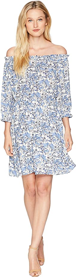 Off the Shoulder Ivy Forest Ruffled Dress