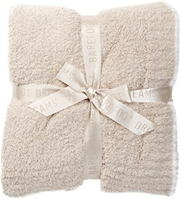 "Barefoot Dreams Contrast Trim Throw Blanket 45"" x 60"" (Stone/White)"
